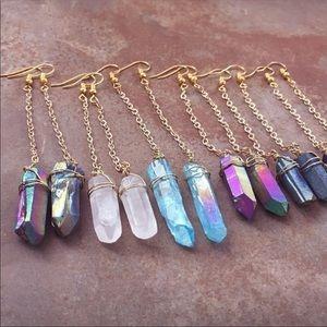🌹NEW Crystal Quartz Blue Rainbow Earrings